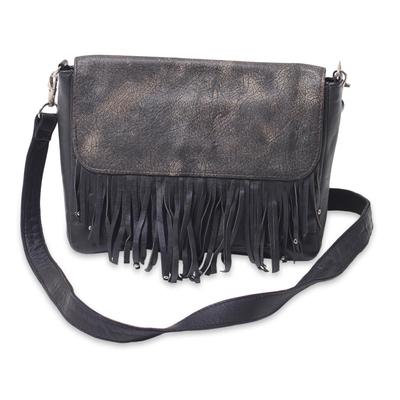Leather shoulder bag, 'Losari Midnight' - Antiqued Black Leather Handcrafted Shoulder Bag with Fringe