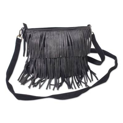 Black Leather Handcrafted Shoulder Bag with Fringe