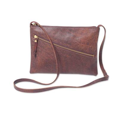 Leather shoulder bag, 'Selayar Brown' - Brown Leather Shoulder Bag with Adjustable Strap