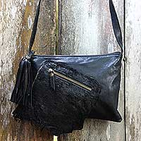 Leather shoulder bag, 'Trendsetter' - Handcrafted Balinese Black Leather Shoulder Bag