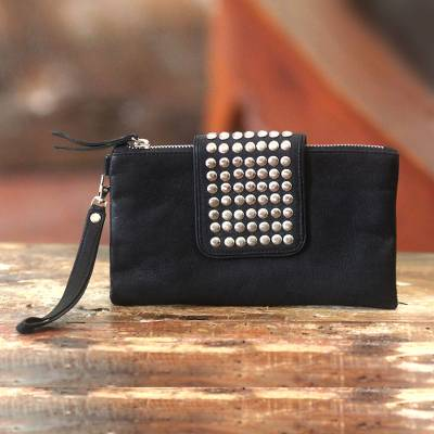 Leather wristlet bag, 'Empire' - Leather Wristlet Bag Black Clutch with Stainless Steel Studs