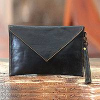 Leather wristlet bag, 'Versatile Night' - Black Leather Wristlet Bag Lined Envelope Clutch