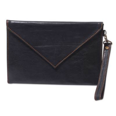 Black Leather Wristlet Bag Lined Envelope Clutch