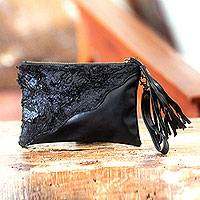 Leather wristlet bag,