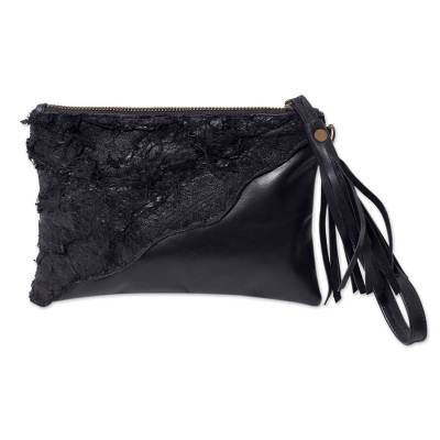 Diagonal Applique Handcrafted Black Leather Wristlet
