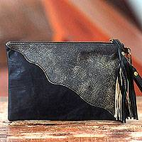 Leather wristlet bag, 'Losari Horizon' - Artisan Crafted Diagonal Applique Black Leather Wristlet