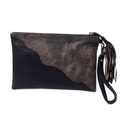 Artisan Crafted Diagonal Applique Black Leather Wristlet