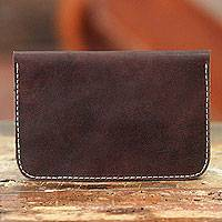 Leather passport wallet Happy Trails in Brown Indonesia