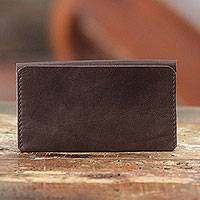 Leather billfold, 'Makassar Brown' - Artisan Crafted Leather Billfold Wallet from Bali