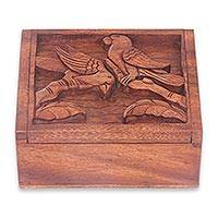 Wood box, 'Sparrow Romance' - Balinese Bird Theme Hand Carved Wood Box