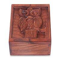 Wood box, 'Balinese Owl' - Bird Theme Hand Carved Wood Box from Bali