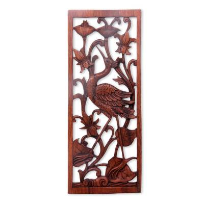Wood relief panel, 'Lotus Crane' - Hand Made Suar Wood Crane Relief Panel from Bali