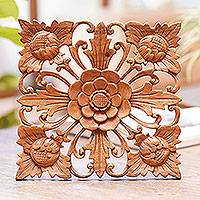 Wood wall panel, 'Magnificence' - Hand Carved Floral Theme Wood Relief Panel from Bali
