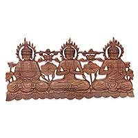 Wood relief panel, 'Buddha Trio' - Balinese Buddha Theme Wood Relief Panel for the Wall