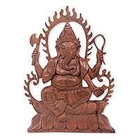 Wood relief panel, 'Ganesha's Blessing' - Balinese Artisan Carved Hindu Relief Panel of Ganesha