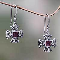 Garnet dangle earrings, 'Cross Pattee' - Handcrafted Balinese Silver Cross Earrings with Garnet