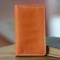 Leather passport wallet, 'Java Journeys in Ginger' - Quality Leather Passport Wallet Hand Crafted in Bali