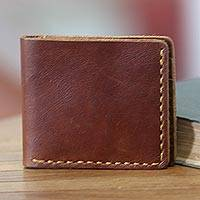 Men's leather wallet, 'Malioboro Brown' - Dark Brown Leather Wallet for Men Crafted by Hand in Java