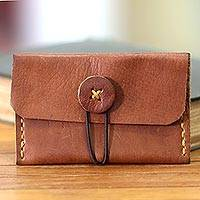 Leather business card holder Batavia Brown Indonesia