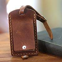Leather luggage tag, 'Sumatra Secrets' - Brown Leather Luggage Tag Handmade in Bali