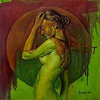'Longing II' - Original Mixed Media Expressionist Nude Portrait