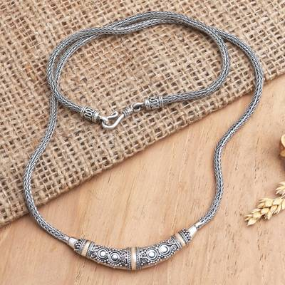 Gold accent necklace, 'Eternal Flame' - Bali Sterling Silver Chain Necklace with 18k Gold Accents