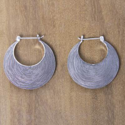 Sterling silver hoop earrings, 'Hypnotic Bali Moon' - Handmade Textured Sterling Hoop Earrings from Bali