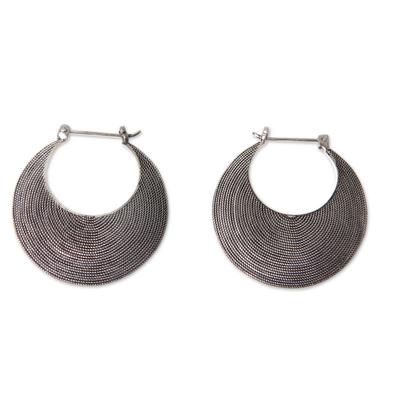 Handmade Textured Sterling Hoop Earrings from Bali