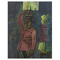 'Ready to Go to the Temple' - Signed Original Painting of a Balinese Woman