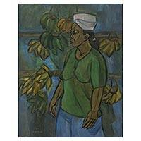 'Banana Seller' - Indonesian Market Woman Signed Original Painting