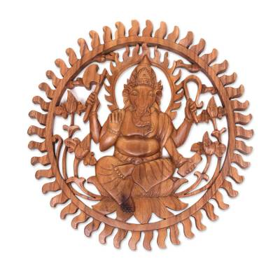 Wood relief panel, 'Ganesha Aura' - Balinese Artisan Carved Ganesha Wood Relief Panel