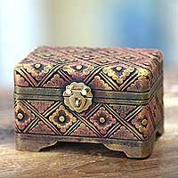 Wood box, 'Kingdom of Gelgel' - Antique Style Gilded Hand Carved Floral Wooden Box