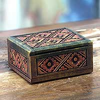 Wood box, 'Sriwijaya Treasure' - Antique Style Gilded Hand Carved Wood Floral Box