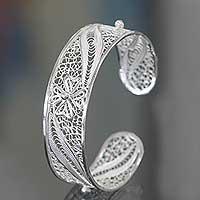 Sterling Silver Filigree Cuff Bracelet White Jasmine (indonesia)