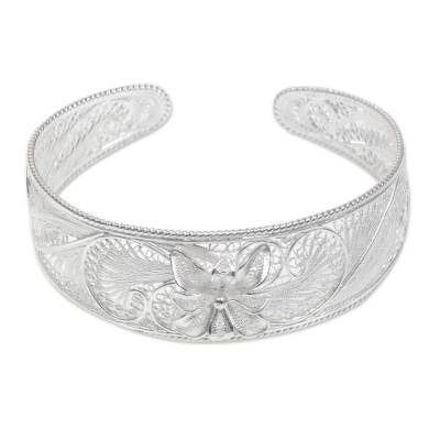 Floral Filigree Cuff Bracelet Crafted of Silver in Bali