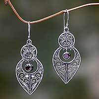 Garnet and sterling silver dangle earrings, 'Majapahit Glory' - Balinese Sterling Silver Dangle Earrings with Garnet