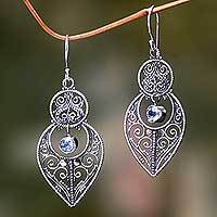 Blue topaz and sterling silver dangle earrings, 'Majapahit Glory' (Indonesia)