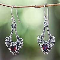 Garnet dangle earrings, 'Balinese Glitz' - Aquarius Garnet Birthstone on Sterling Silver Hook Earrings