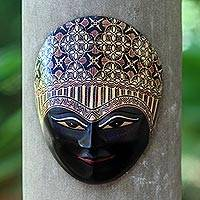 Wood batik mask, 'Panji Kawung' - Javanese Prince Wood Batik Decorative Wall Mask