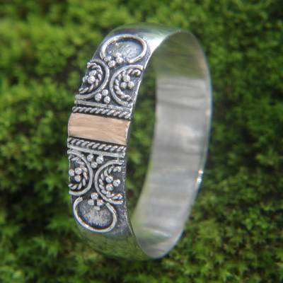 best silver rings design definition - Graceful Handcrafted Gold Accent Sterling Silver Band Ring