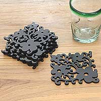 Wood coasters, 'Midnight Jasmine' (set of 6) - 8 Square Floral Motif Wood Coasters
