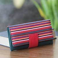 Cotton wallet, 'Dark Green Horizontal Rainbow' - Multi Pocket Cotton Wallet Multi Color Hand Woven Accessory