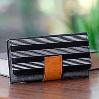 Cotton wallet, 'Monochrome Accent' - Hand Woven Cotton Striped Multi Pocket Wallet