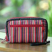 Cotton wristlet bag, 'Versatile Dark Green' - Multi Pocket Wristlet Bag Hand Woven Multicolor Stripes