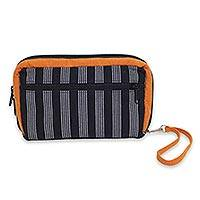 Cotton wristlet bag, 'Versatile Marigold' - Multi Pocket Wristlet Bag Hand Woven Monochrome Stripes