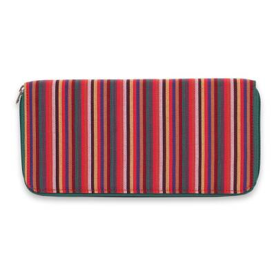 Hand Woven Cotton Striped Purse Multi Pocket Wallet
