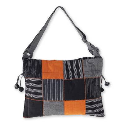 Black Grey Yellow Patchwork Hand Woven Cotton Shoulder Bag