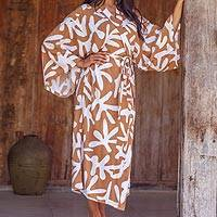 Long rayon robe, 'Balinese Spice'