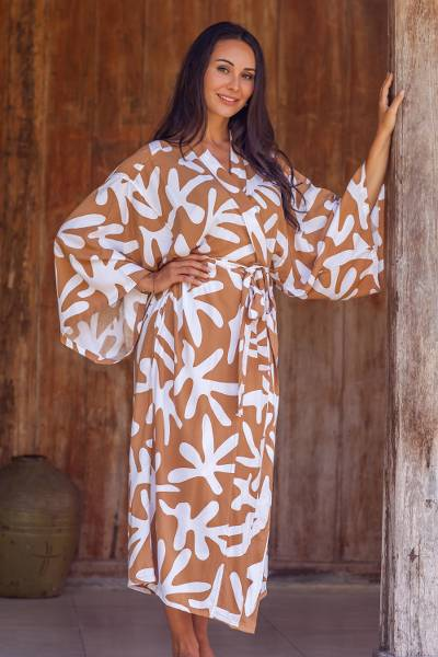 Long rayon robe, 'Balinese Spice' - Russet and White Print Long Rayon Robe from Indonesia