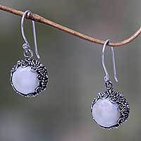 Cultured pearl dangle earrings, 'Sanur Moon' - Bali Artisan Crafted White Pearl Earrings